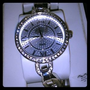 Accessories - Women's Silver Bling Faux Diamond Face Watch